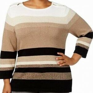 Karen Scott Beige Knit Striped Pullover Sweater 2X